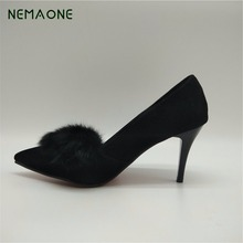NEMAONE free shipping Sexy stilettos Red bottom high heels Ladies Shoes Pointed Toe Party Women Pumps big size 42 43 black red