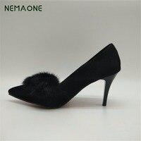 NEMAONE kostenloser versand Sexy stilettos Rote untere hohe absätze Damen Schuhe Spitz Parteifrauen Pumpt große größe 42 43 schwarz rot