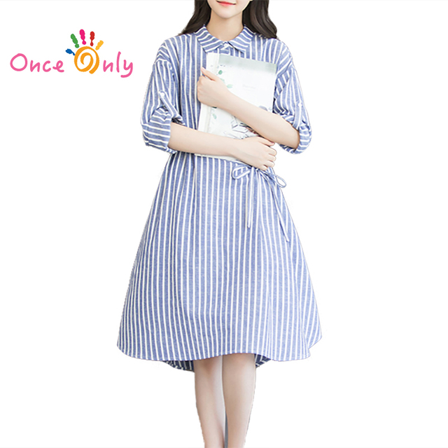 6dea4ec522b S - XXXL New Arrival 2017 Fashion Blue Striped Long Sleeve Bow Cotton Linen  Loose Casual Shirt Dress Plus Size Women Dresses
