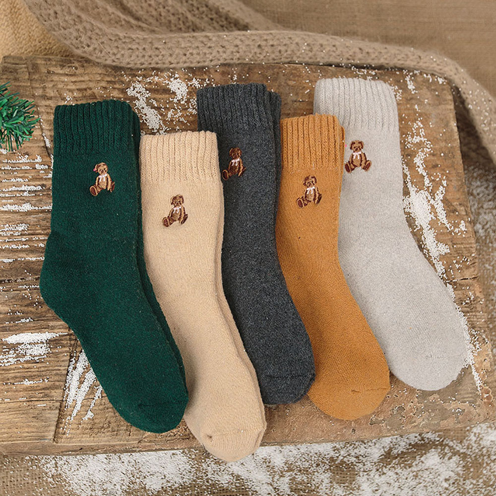 5 Pairs Winter Ladies Thermal Rabbit Wool Cute Female Cotton For Women High Quality Thicken Warm   Socks