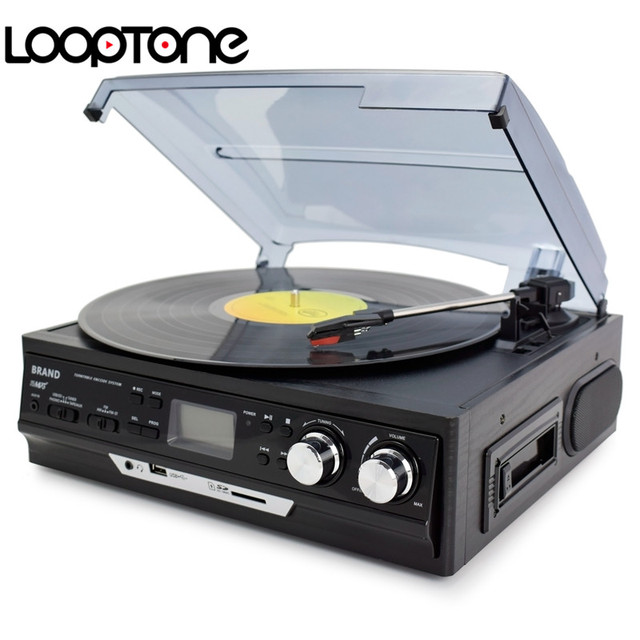 LoopTone 3-Speed Vinyl LP Record Players Turntable Player Built-in Speakers Gramophone AM/FM Radio Cassette USB/SD recorder