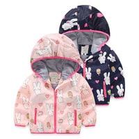 2017 Autumn New Brand Rabbit Print Cotton Baby Girls Hooded Outerwear Windbreak Trench Kids Cartoon Thin