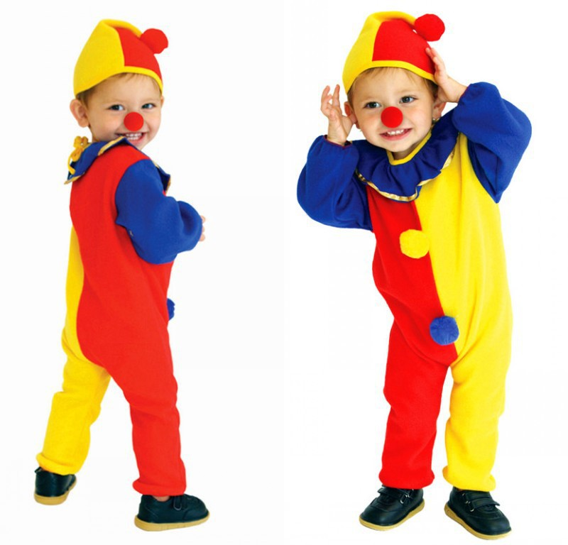 cute baby clowns halloween cosplay soft lint romper jumpsuits children funny circus costume kids party birthday - Childrens Funny Halloween Costumes