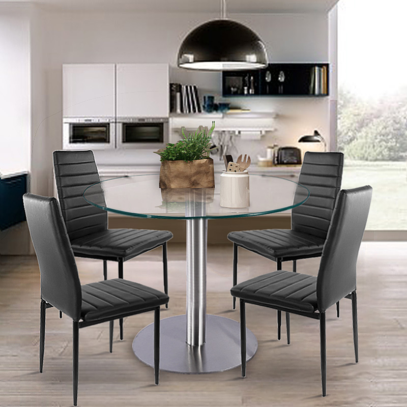 Glass Dining Set Round Dining Table With 4pcs Dining Chair