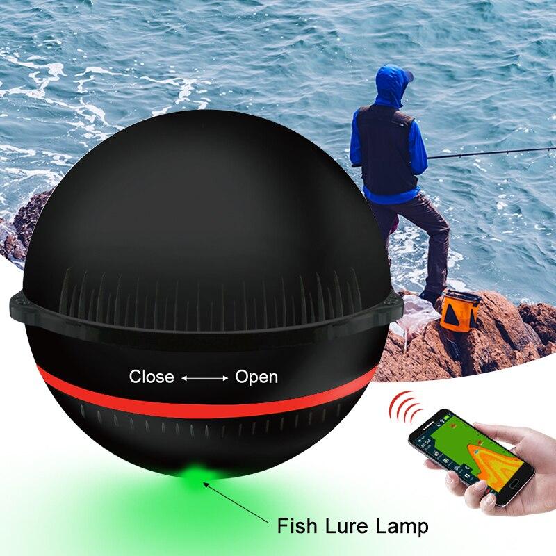 Erchang Tragbare Sonar Fisch Finder Lampe Bluetooth Wireless Sonar Für Iphone Fisch Lampe 36 mt/118ft Tiefe Echolot meer Angeln