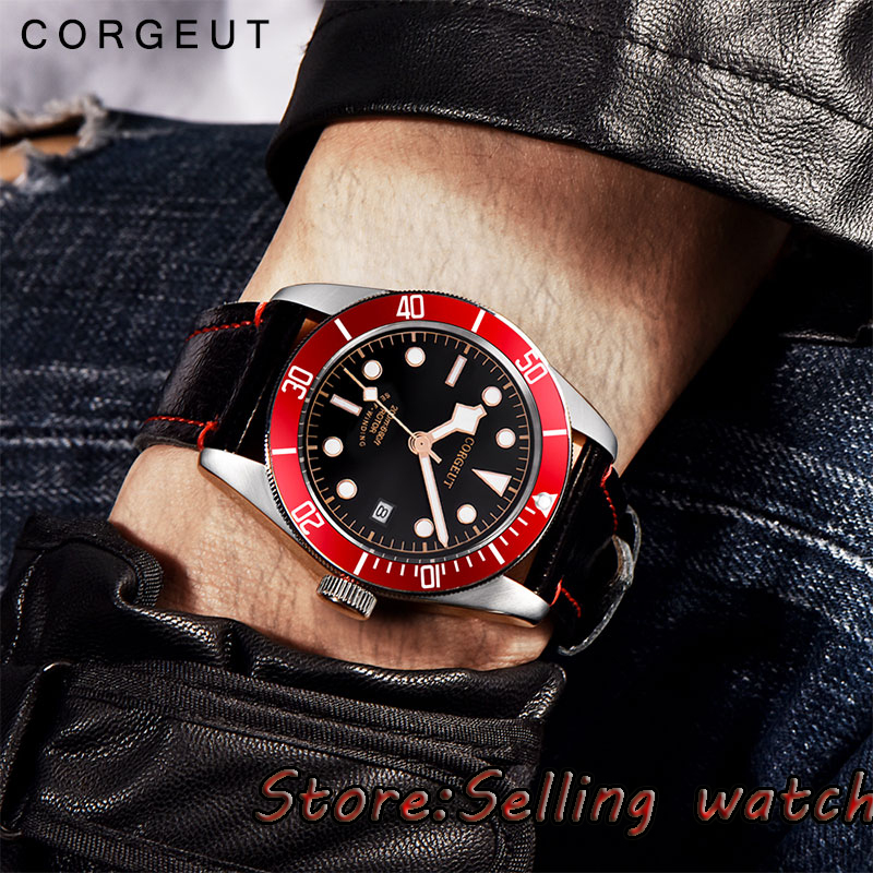 лучшая цена 41mm corgeut black sterile dial red bezel Sapphire Glass miyota automatic mens Watch