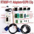 Original RT809F programador + 11 adaptadores + SOP8 clip abrazadera + 1,8 v/TSSOP8 hembra VGA LCD programador ICSP Junta 24 25 93 serie IC