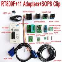 Oryginalny programator RT809F + 11 adapterów + zacisk SOP8 + gniazdo 1.8 V/TSSOP8 programator LCD VGA płyta ICSP 24 25 93 seria IC