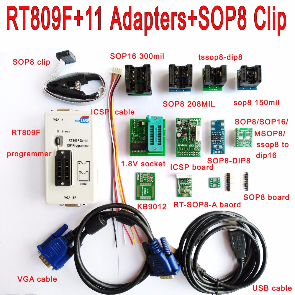 Programmeur d'origine RT809F + 11 adaptateurs + pince à clip SOP8 + prise 1.8 V/TSSOP8 programmeur VGA LCD carte ICSP 24 25 93 circuit IC