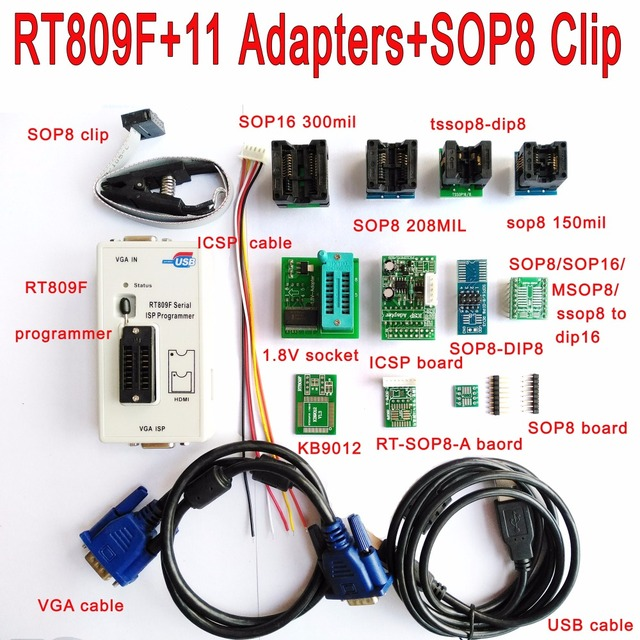 מקורי RT809F מתכנת + 11 מתאמים + SOP8 קליפ מהדק + 1.8 V/TSSOP8 שקע VGA LCD מתכנת ICSP לוח 24 25 93 serise IC