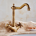Free shipping Kitchen Faucet Antique Brass 360 Degree rotating Swivel Bathroom Basin Sink Mixer Tap Double Handle HJ-6711F