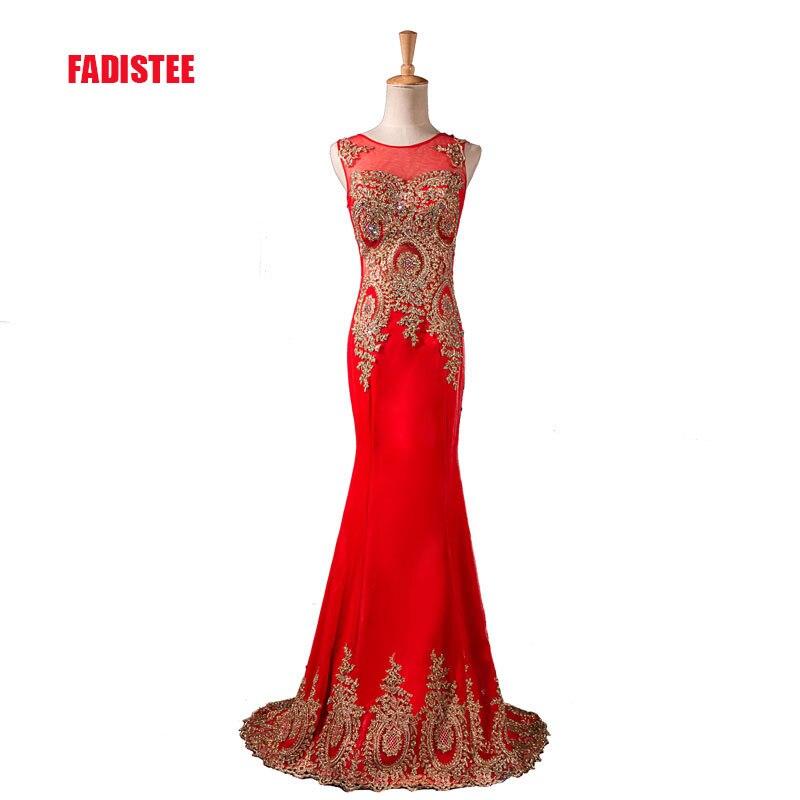 Лидер продаж, элитное вечернее платье, просвечивающее сзади, торжественное платье, Золотое платье с аппликацией, vestidos de festa, с блестящими кристаллами - Цвет: Красный