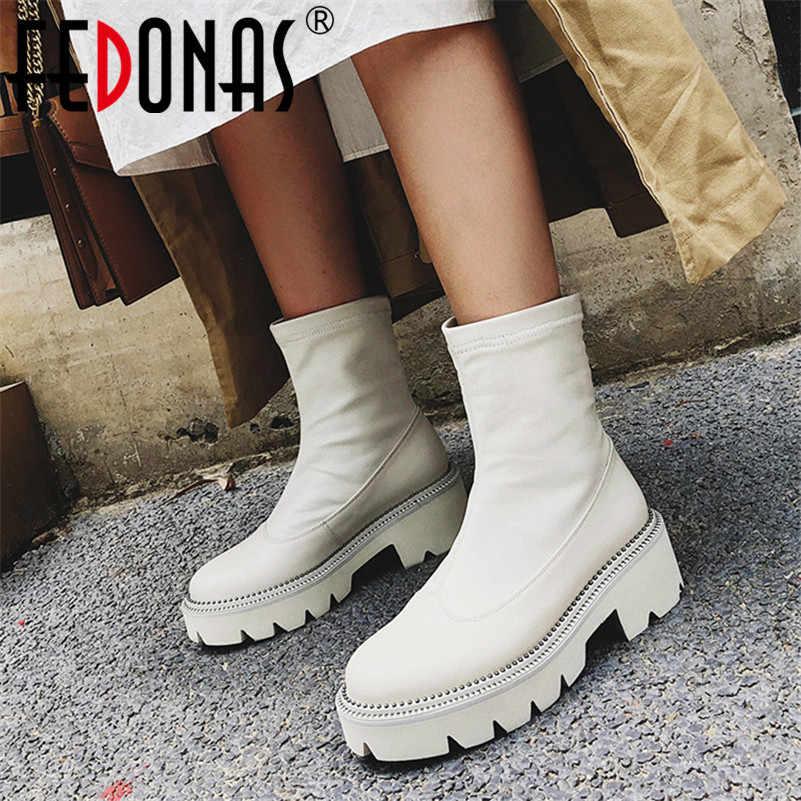 Botas de plataforma de punta redonda clásicas para mujer, botas de tobillo de cuero genuino, botas cortas para mujer