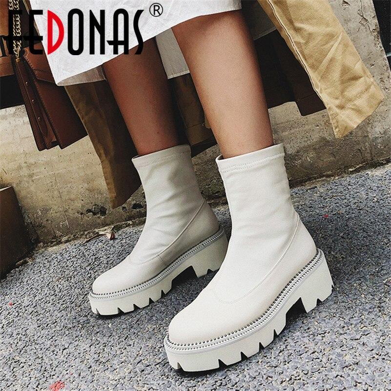 FEDONAS classique bout rond bottes à plate forme en cuir véritable femmes bottines grande taille femme Chelsea bottes courtes chaussures de fête femme-in Bottines from Chaussures    1