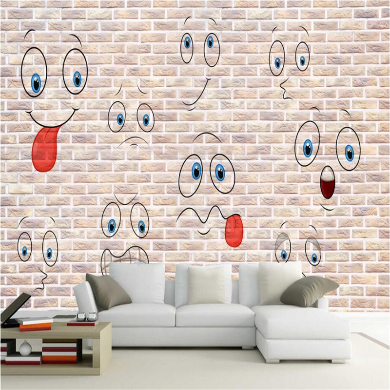 Embossed Wallpaper Cute Smiley Face Fashion Hand Painted 3d Wall Murals TV Background Study Kitchen Wall Mural Wallpaper Bedroom custom gold wallpaper hand painted elephant photo wall mural tv background kitchen study bedroom living room 3d wall murals