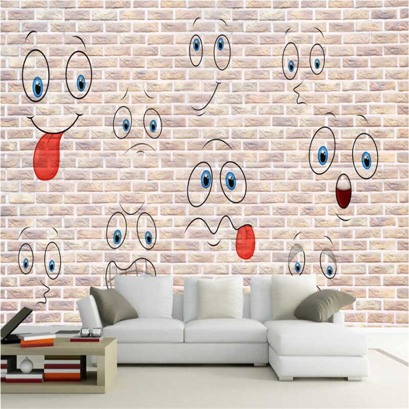 Embossed Wallpaper Cute Smiley Face Fashion Hand Painted 3d Wall Murals Tv Background Study Kitchen Wall Mural Wallpaper Bedroom