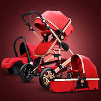 Cochecito de bebé de alto paisaje 3 en 1 cochecito de bebé cochecito de viaje de lujo cochecito para niños cesta asiento de coche y cochecito de bebé