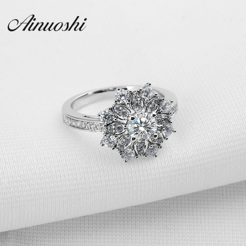 AINOUSHI Hot Sale Luxury Women Engagement Jewelry 925 Sterling Silver Sona Bague Female Wedding Finger Flower Rings vintage cute 925 sterling silver clover cross 7a natural moonstone rings for women wedding engagement jewelry finger bague aneis