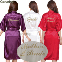 TJ01 Large Size S 3XL Gold Letter Bride Bridesmaid Get Ready Robes Bridal Party Gifts Bathrobe