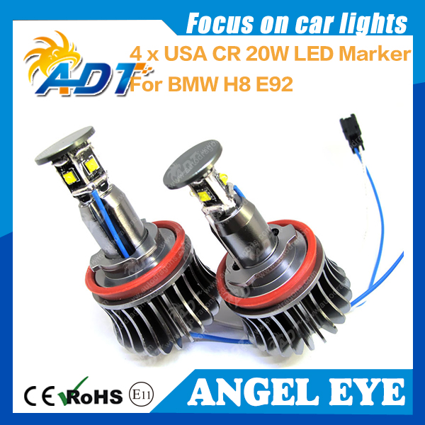 20W No error Angel Eyes Xenon Headlight Cr LED Marker Xenon White for BMW E87 E82 E90 LCI E91 E92 E93 E60 E61 X1 X5 X6 H8 E92