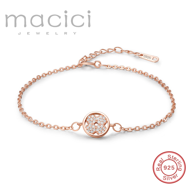 Birthday Gifts For Friends Rose Gold Bracelet Small Four Leaf Clover Women