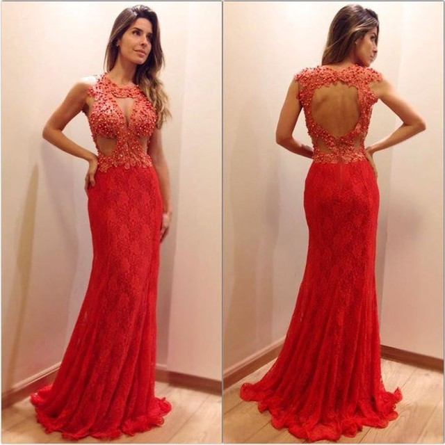 aab8a28df1e70 Sexy Long Cutouts Fitted Formal Applique Red Prom Dress Beaded vestido  longo de renda Open Back Red Lace Evening Gowns-in Prom Dresses from  Weddings & ...