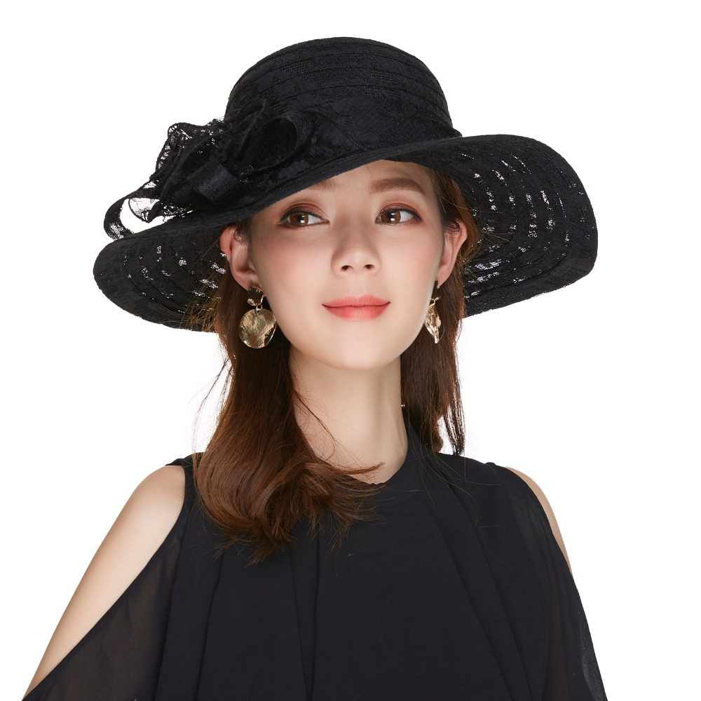 Kajeer Church Hats For Women Black Sexy Floral Crown Vintage Style Organza Fascinator Sun Hat Women Party Dance Hair Accessory in Women 39 s Fedoras from Apparel Accessories