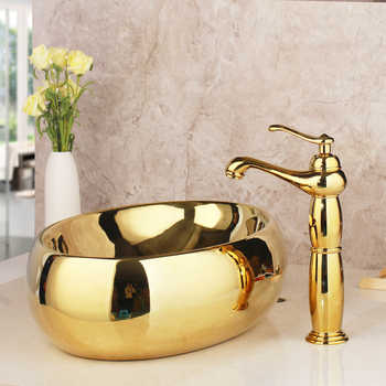 Bathroom Basin Sink Golden Ceramic Lavatory Bathroom Tap Washbasin Basin Sink Set Bath Combine Solid Brass Mixer Faucet Set