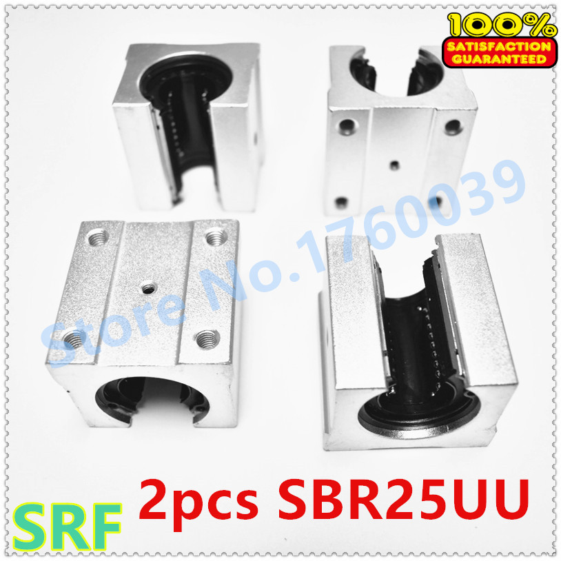 25mm 2pcs Linear bearing block SBR25UU Aluminum  Linear motion ball slide bearing blocks use 25mm SBR25 linear rail  for CNC 2pcs sbr25 l1500mm linear guides 4pcs sbr25uu linear blocks for cnc