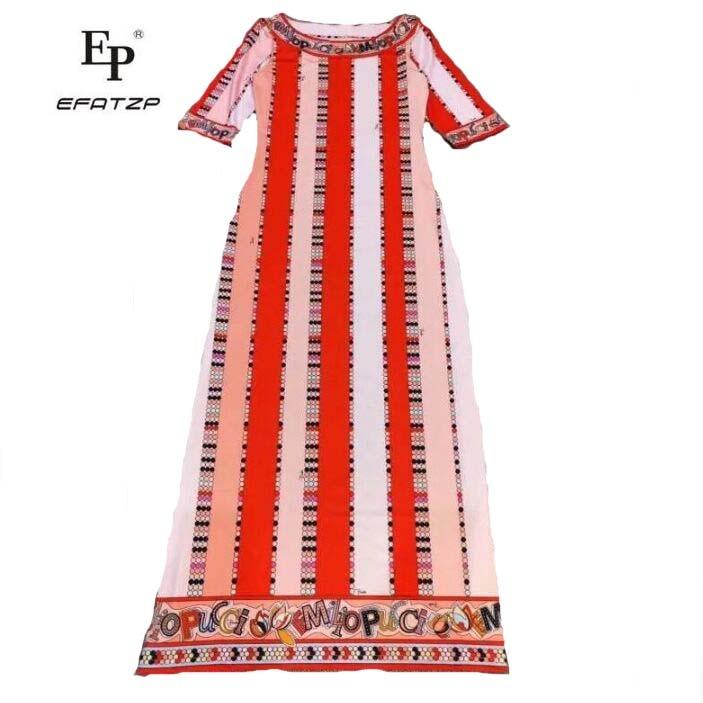 EFATZP New Women s Fashion Short Sleeve Geometric print Long Dress Slender Elastic Knitted silk jersey