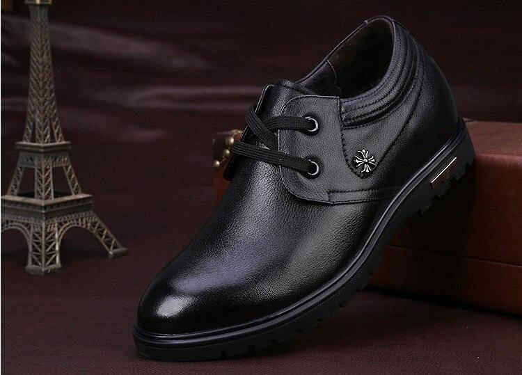Haute qualité en cuir véritable chaussures pour hommes marcher plus grand 7 CM, décontracté augmenter élévation chaussures baskets homme chaussures - 5