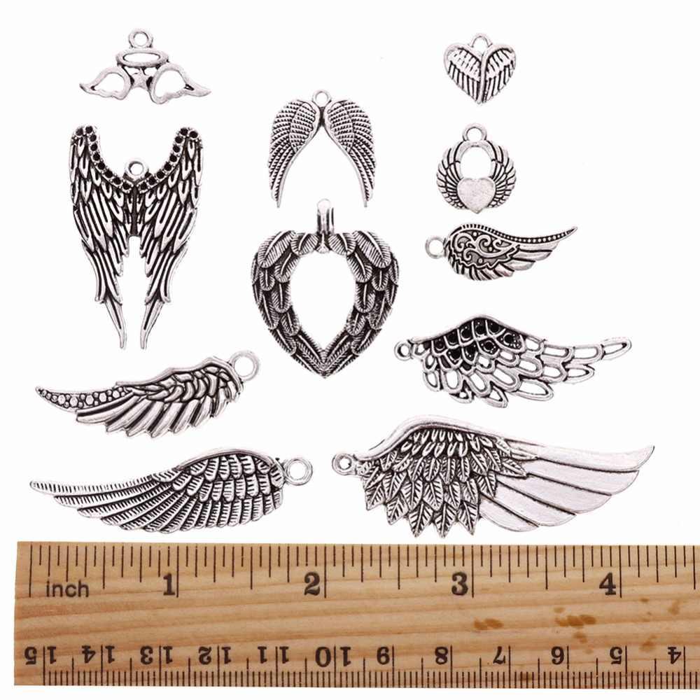 36 개/대 빈티지 실버 도금 모듬 된 천사 날개 DIY 목걸이에 대 한 테마 매력 펜 던 트 쥬얼리 손수 만든 액세서리