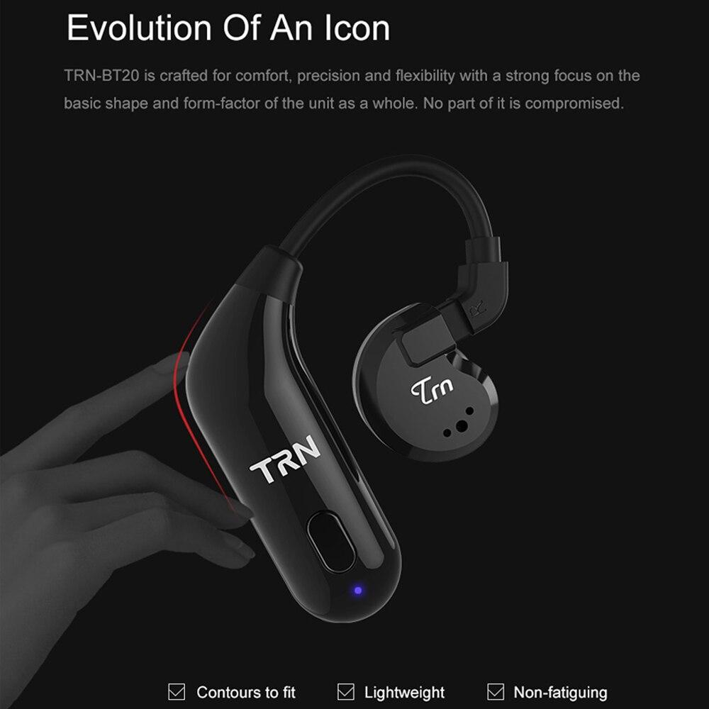 Original TRN BT20 Bluetooth écouteur câble oreille crochet casque mise à niveau fil Bluetooth 5.0 2PIN/MMCX pour TRN V20 V60 KZ AS10 ZS10 - 4