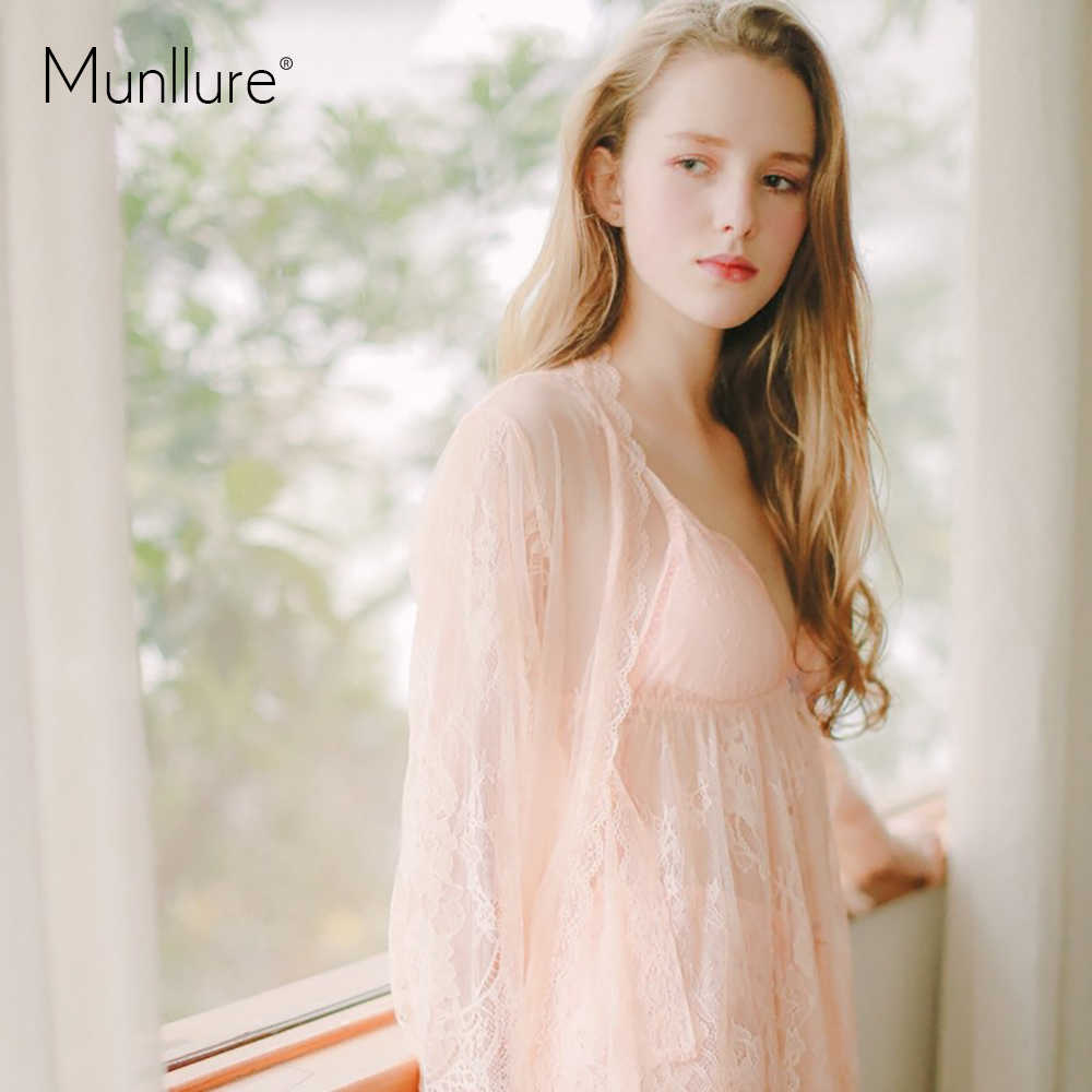 Munllur ultra-thin transparent  Three piece suit lace  silk nightgown Women's fashion the temptation lace sexy condole nightgown