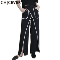 CHICEVER 2017 Summer High Waist Split Trousers For Women European Style Loose Straight Black Pants Fashion