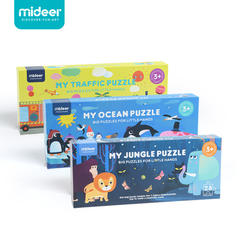 цена на MiDeer Giant Floor Puzzle Kids My Traffic Puzzle and My Jungle Puzzle Ocean Jigsaw Educational Toys for Children New Year Gift
