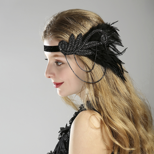 2ac50d5c3f4 New Arrival Women Feather Headband Hair Accessories Vintage Rhinestone  Beaded Sequin Hair Band 1920s Party Headpiece