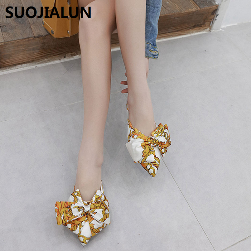 SUOJIALUN Flat Slippers Designer Shoes Women Mules Sandals Butterfly knot Party Dress Luxury Slippers Casual Mules Flat Shoes in Women 39 s Sandals from Shoes