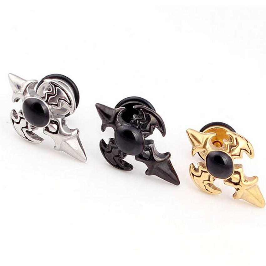 Isayoe 2Piece Gold Silver Black Stainless Steel Studs Mens boy ...