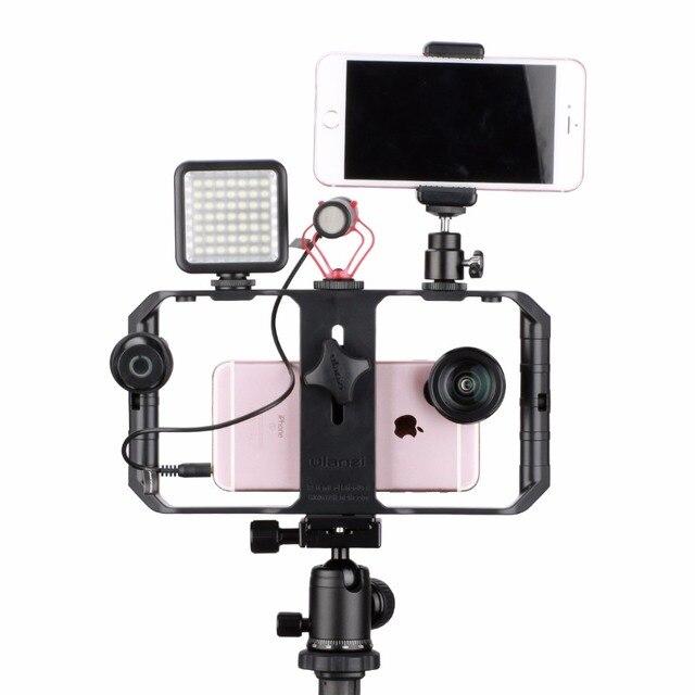 Ulanzi u-rig pro smartphone video rig w 3 shoe mounts filmmaking case handheld phone video stabilizer grip tripod mount stand