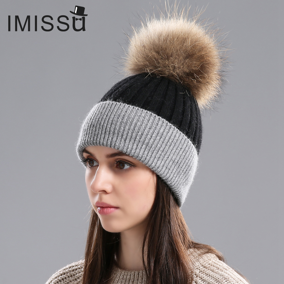 f51a621f162 IMISSU Women s Winter Hats Knitted Real Wool Beanies Caps Raccoon Fur Pom  Pom Hat Female Casual Outdoor Warm Thick Skullies-in Skullies   Beanies  from ...