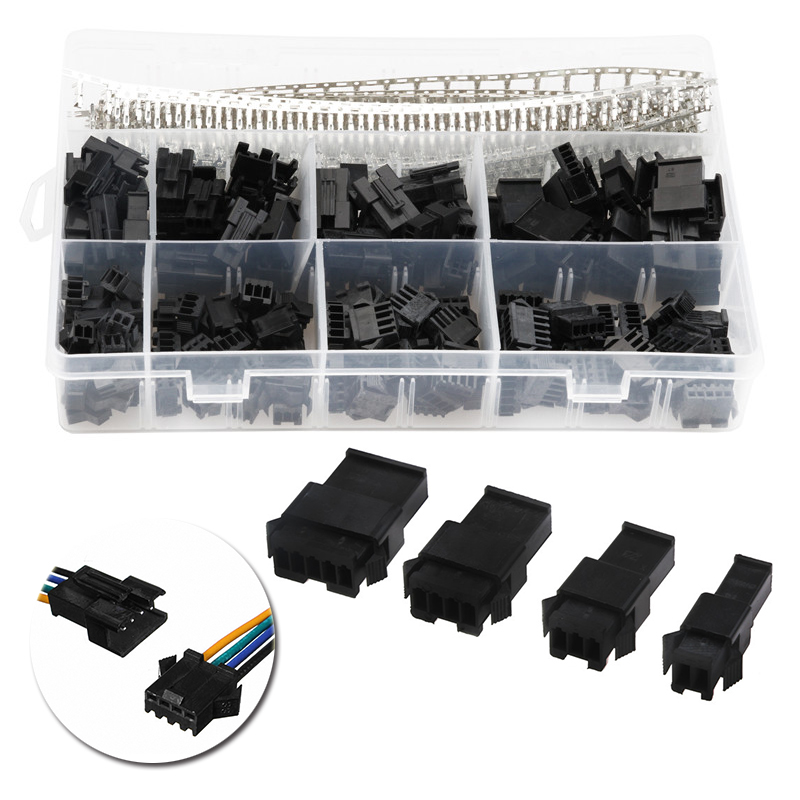 YT 560pcs 2.54mm 2/3/4/5 Pin Black Wire To Board Connectors Male Female Dupont Jumper Pin Header Housing Connector Wire Cable