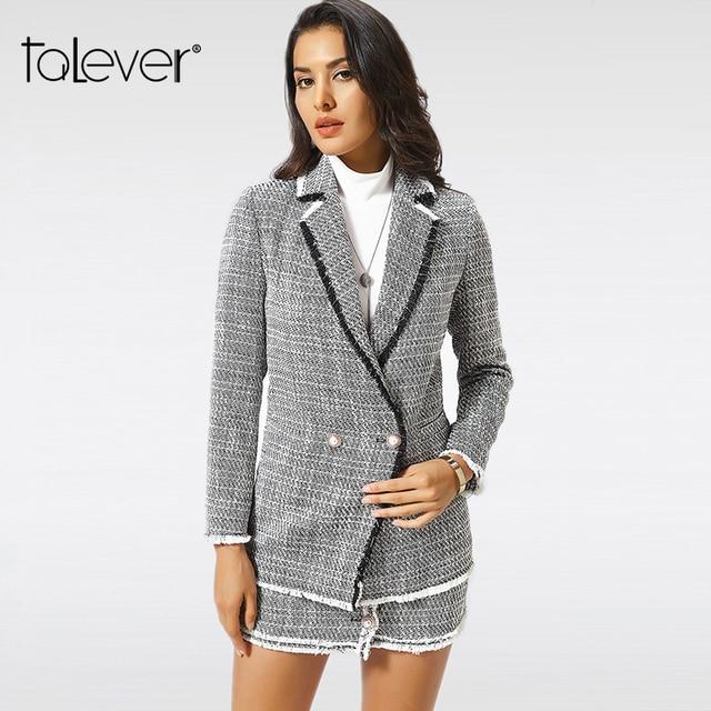 Новый осенний приталенный Блейзер для женщин, официальная куртка, офисная работа, длинный рукав, Блейзер, костюм, женский однотонный Повседневный Блейзер, плюс размер, Talever