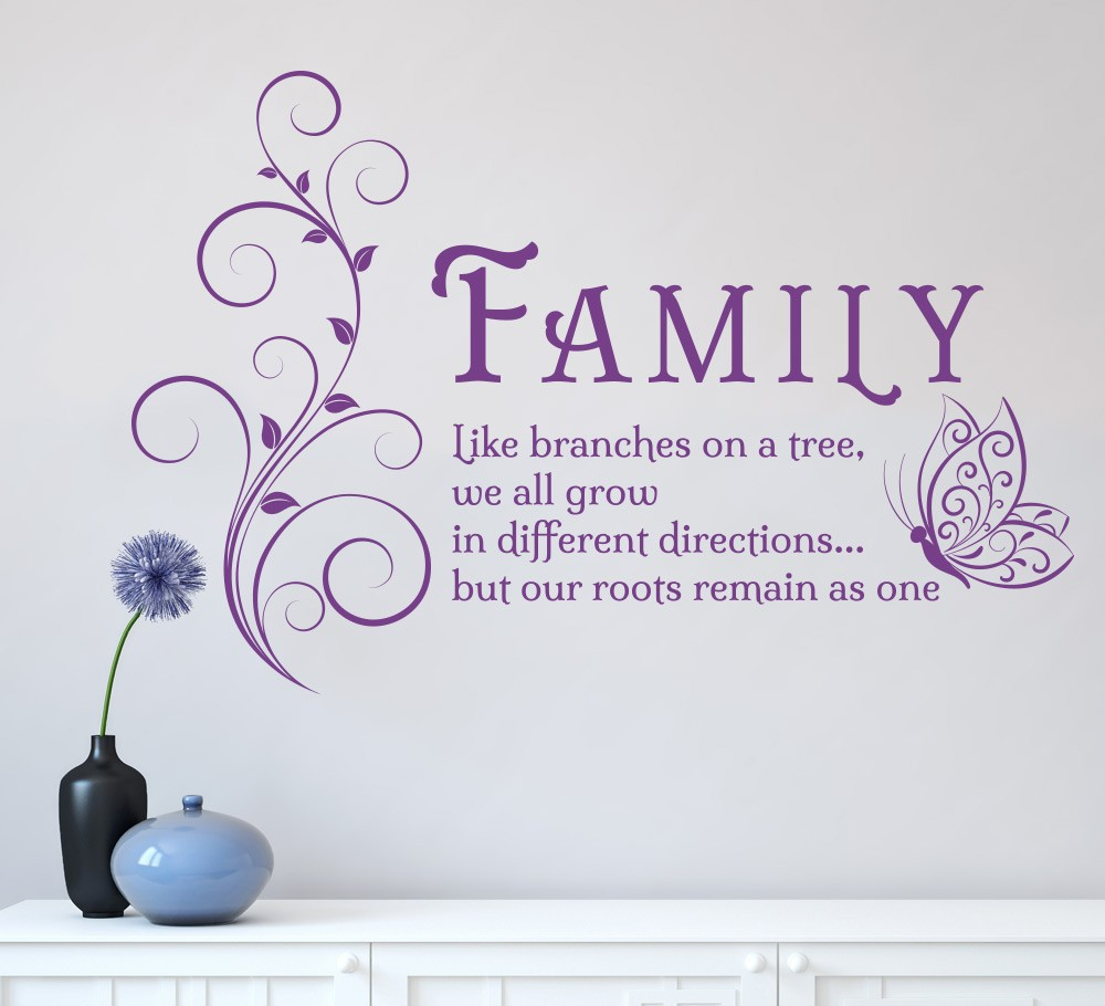 Quotes About Family Family Like Branches Quotes Butterfly Vinyl Wall Art Sticker