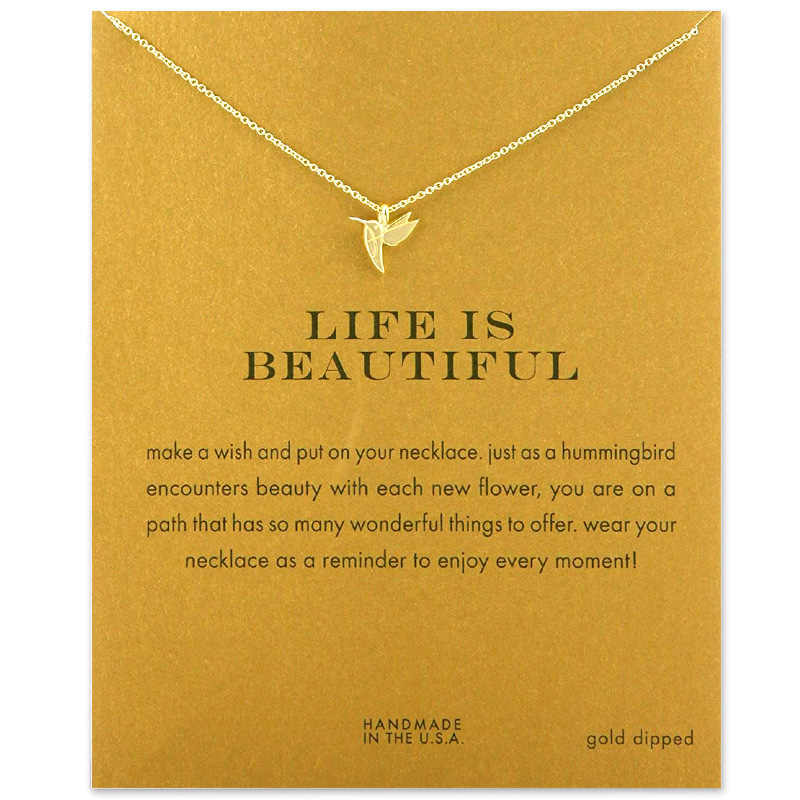 Fashion Hummingbird Necklace Women Flying Bird Clavicle Chain Statement Choker Necklaces Life is Beautiful Gift Card mothers day