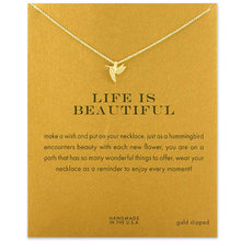 Fashion Hummingbird Necklace Women Flying Bird Clavicle Chain Statement Choker Necklaces Life is Beautiful Gift Card mothers day(China)