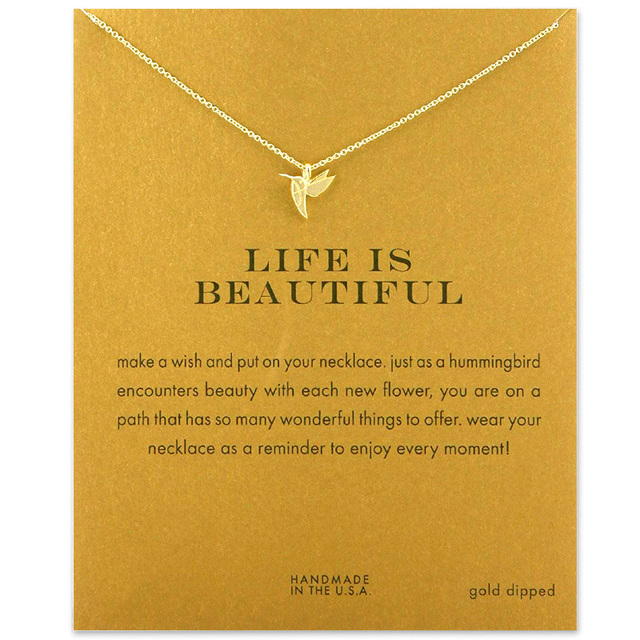 7a50ce394 Fashion Hummingbird Necklace Women Flying Bird Clavicle Chain Statement  Choker Necklaces Life is Beautiful Gift Card mothers day