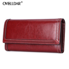 Genuine Leather women wallets Fashion Long Solid Zipper & Hasp purses luxury classic monederos para mujer new arrival 2019