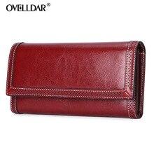 Genuine Leather women wallets Fashion Long Solid Zipper & Ha