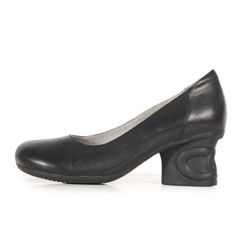 Elegante Negro Cuero Marca Baja Cabeza Boca Redonda Tacones café Mujeres Xiangban Talón Señora Oficina Gruesos Zapatos Altos De Bombas Negro UU6qROw4